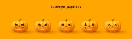 Halloween Set of pumpkin for holiday. Realistic 3d orange pumpkins with cut scary good joy smile. Collection of 3d objects. Design elements isolated on light background. Vector illustration