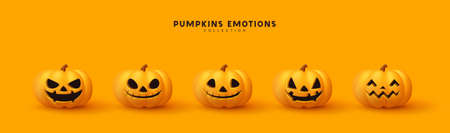 Halloween Set of pumpkin for holiday. Realistic 3d orange pumpkins with cut scary good joy smile. Collection of 3d objects. Design elements isolated on orange background. Vector illustration