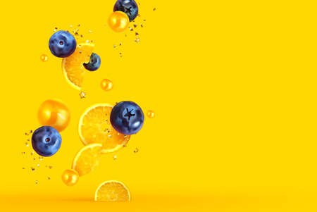 Orange and lemon fruit realistic design slices and halves. Background with citrus fruits and berries blueberries, currants. Vector illustration