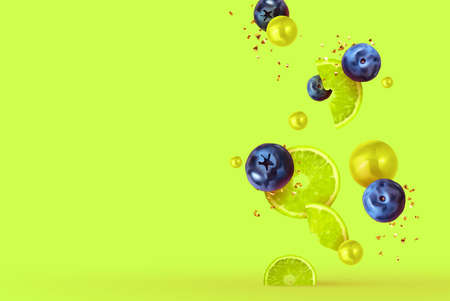 Lime fruit realistic design slices and halves. Background with citrus fruits and berries blueberries, currants. Vector illustration