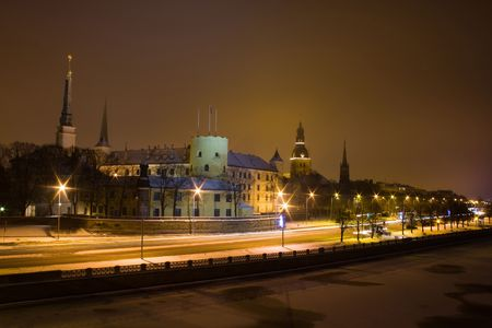 neogothic: Old town in Riga, Latvia, at night