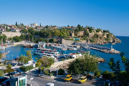 Boats at the old harbour in Antalya, Turkey  photo