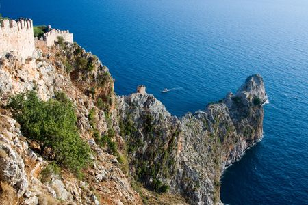 bird view: Bird view on cape in Mediterranean sea, Alanya, Turkey