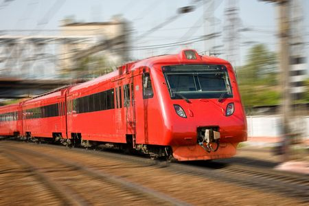High-speed passenger train in motion  photo