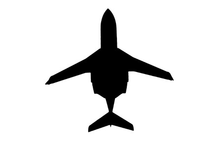 passanger: Silhouette plane business on a white background Stock Photo