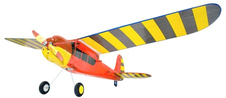 Radio flight red-yellow on a white background, similar to the Piper.  photo
