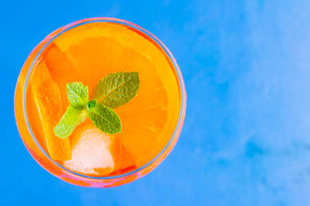 cocktail on a blue background.