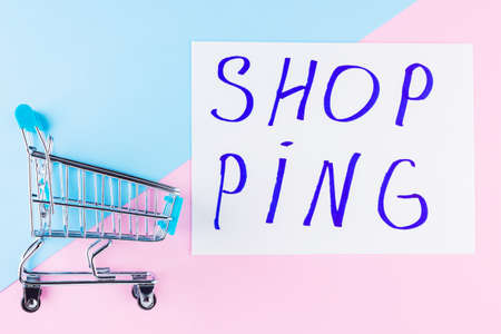 Shopping cart on blue background. Shop trolley at supermarket. Sale and discount. Consumer society trend. Concept of shopping. Top view