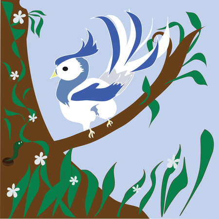 bird sitting on a branch and looking at the worm Stock Vector - 15754079