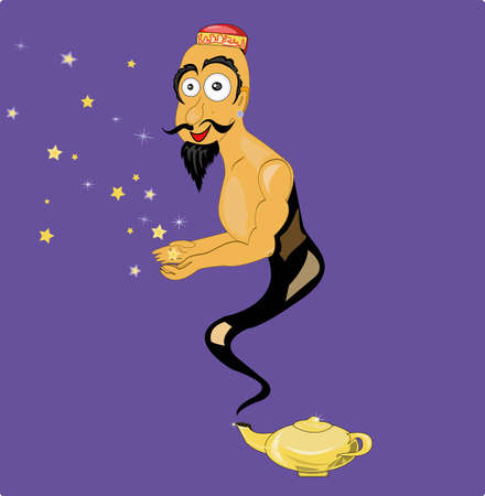 Genie comes out of the lamp Vector