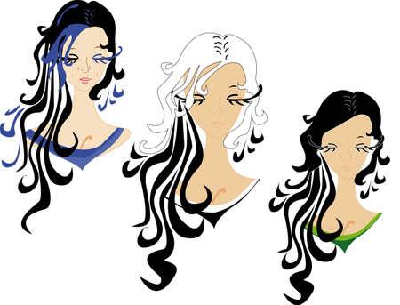 caras de tres chicas con pelo oscuro Ilustración de vector