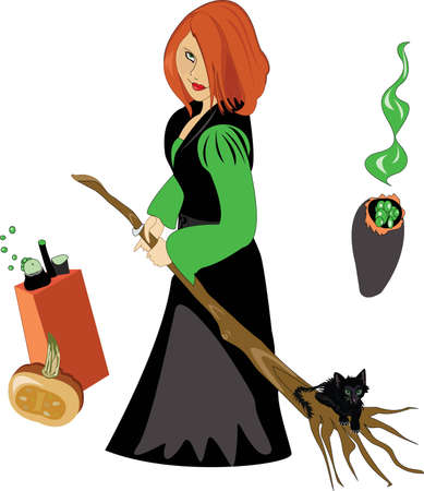 Witch holding a broom on which sits a cat Vector
