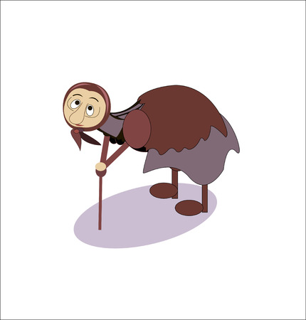 hoary: funny adult old Granny with a cane - vector Illustration