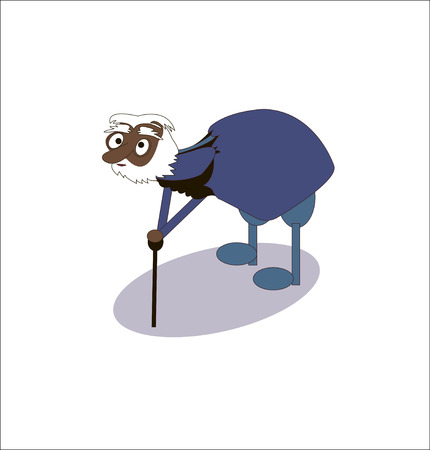 hoary: funny adult old grandfather with a cane - vector