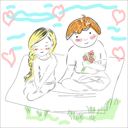 coverlet: A couple is sitting on the coverlet, the guy gives the girl flowers. Color illustration - vector Illustration