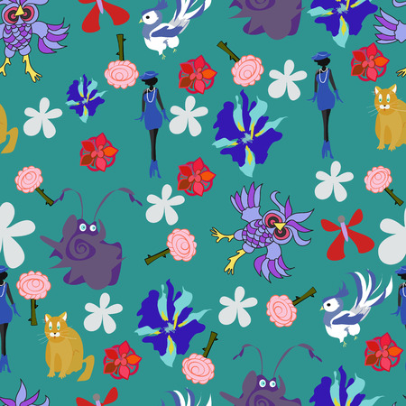 seamless pattern with different funny figures - vector Vector