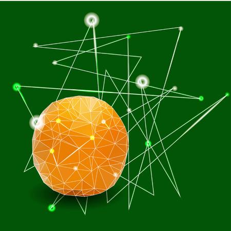 fruitage: Orange on a green background, polygonal background, vector illustration Illustration
