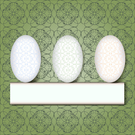 White eggs with lace pattern on the green lace background, vector illustration Vector