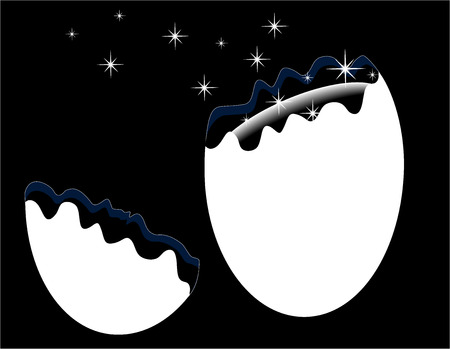 appear: white broken egg on a white background from which the stars appear, vector illustration