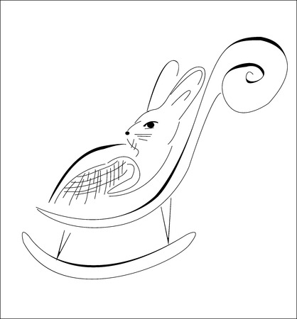 recliner: Artistic sketch of a rabbit in his chair, vector illustration