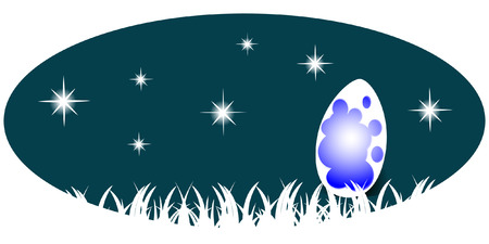 broken egg: Broken egg inside which the light on the background of the night sky with stars, vector illustration