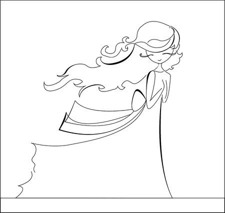 ragazza giovane bella: Uno schizzo di una bella ragazza, line art illustrazione vettoriale