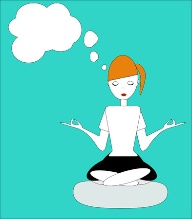 joven sentado: the girl sitting in the Lotus posture, practicing yoga, meditation and dream about something - vector