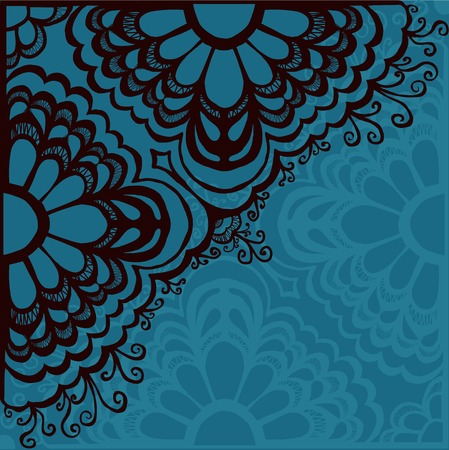 corner design: drawn by hand lace ornament, abstract background, ornamental corner with lacy design - vector
