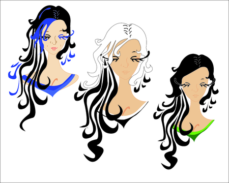 dark hair: three girls with dark hair, you can use as an illustration for a profile or avatar - vector
