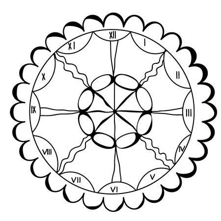numeros romanos: Dibujado Doodle reloj con números romanos, ilustración vectorial