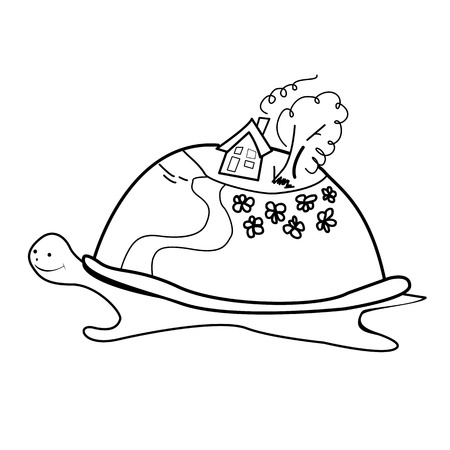 small world: Hand-drawn Doodle of a turtle which has on the back a small world, white sketch on a Colored background, vector illustration