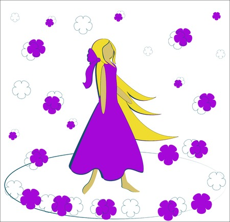 a charming: floral swirl around the charming blonde girls - vector