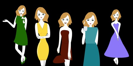 The set of images. The girl drinks tea or coffee and pondered what course of five her today to choose the vector