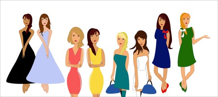 one girl: In the set of images. One girl in different poses and dresses - vector illustration