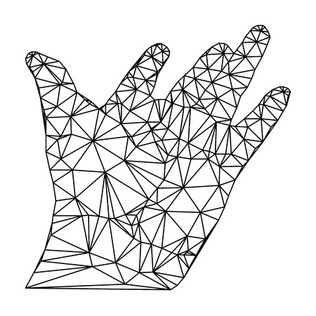 disclosed: geometric polygonal hand, open palm, vector illustration