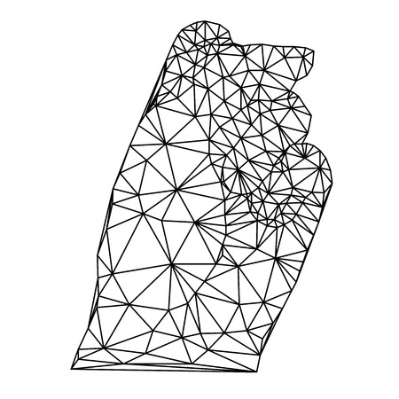 clenched: geometric polygonal hand, clenched fist, vector illustration Illustration