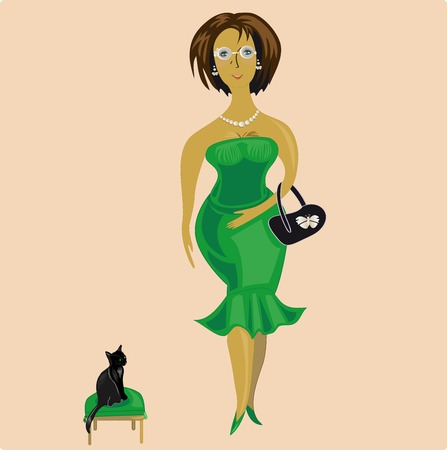 green dress: woman with glasses and a green dress Vettoriali