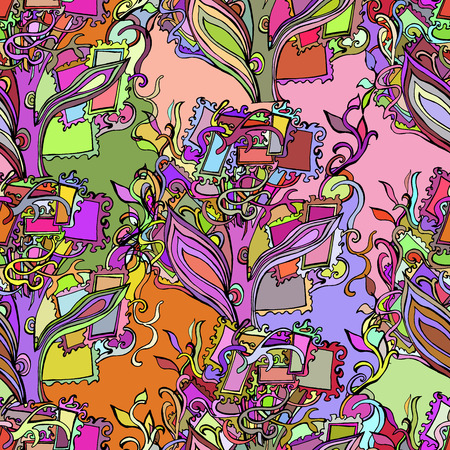 Vector background with circular floral-woody ornament. Colorful abstract hand-drawn design. Illustration