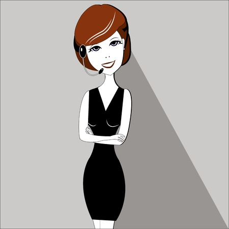 crossed arms: Smiling business woman with folded hands against. Open smile, crossed arms - vector illustration