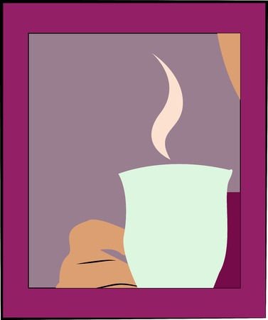 vapour: Mug with tea or coffee. Banner for life events with space for text. You can use for invitations - vector Illustration