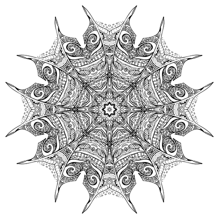 ethical: Vector black and white zenmandala, suitable for  print on various things, card or invitations designs in an ethical style,  ottoman motifs, turkish, Islam, Arabic, Indian, adults Coloring Page