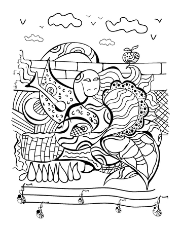 Chinese horoscope series postcard with a Doodle of a snake, vector illustration
