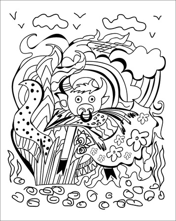 nostrils: Chinese horoscope series postcard with a Doodle of a bull, vector illustration Illustration
