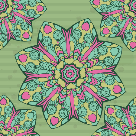 cor: Seamless pattern with mandala. Template backdrop for cards, packaging, invitations. Suitable for tiles, wrapping paper, fabric. Vector illustration