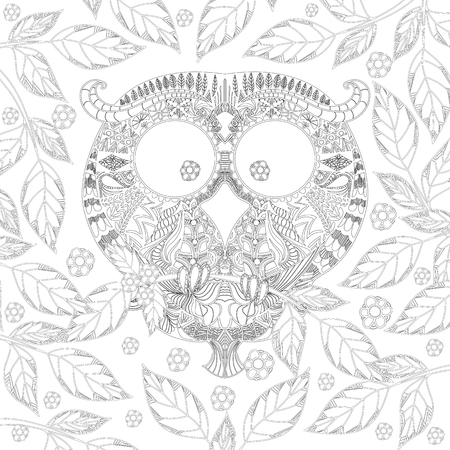coloring sheets: Coloring book page with zendoodle Owl in leaves, zentangle picture for older children and adults with high details isolated on white background. Vector monochrome illustartion.