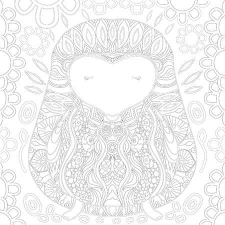 fine lines: Coloring book page with zendoodle hedgehog, zentangle picture with very fine lines  for older children and adults with high details isolated on white background. Vector monochrome illustartion. Illustration