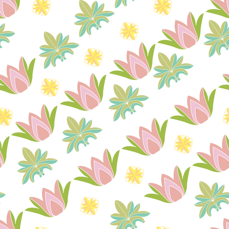lotos: Seamless pattern with lotos. Texture for  fabric or wrapping paper print,  background decoration on wallpapers web, surface design scrapbooking, tiles. Vector illustration Illustration