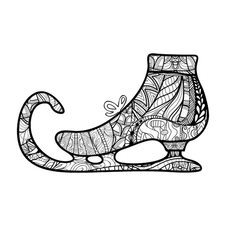 Patín de hielo decorativa ornamental, elemento de diseño zendoodle. Plantilla de tarjetas, invitaciones, sobre los paquetes y para cualquier otro tipo de folletos diseño, posters, libros para colorear día de fiesta, ilustración vectorial