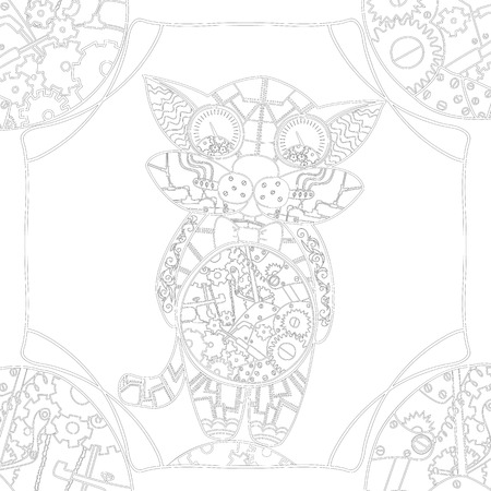 fine lines: Coloring book page with mechanical cat, zentangle picture with very fine lines for older children and adults with high details isolated on white background. Vector monochrome steampunk  illustartion.