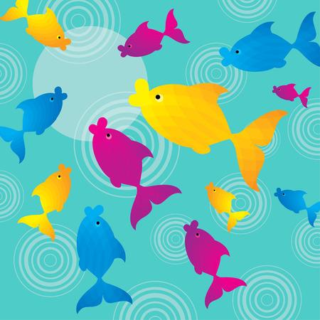 colorful fish: Colorful fish in the emerald sea Illustration